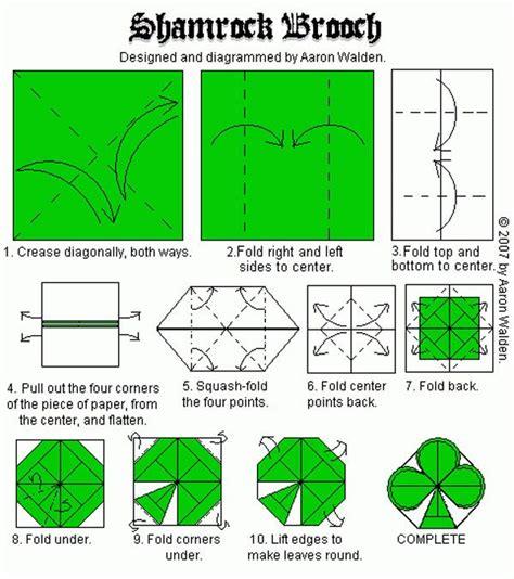 Origami St - shamrock brooch origami diagrams