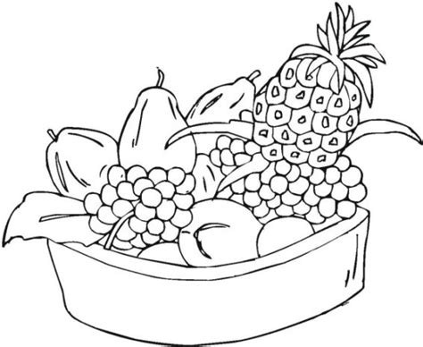 blank apple coloring page fruits and vegetables basket outline