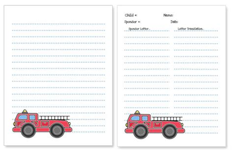 firefighter writing paper truck stationery paper printable treats