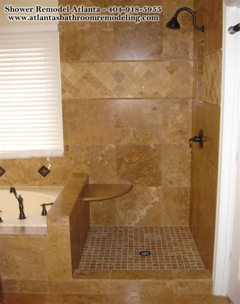 Remodeling Bathroom Shower Ideas by Shower Travertine Seat