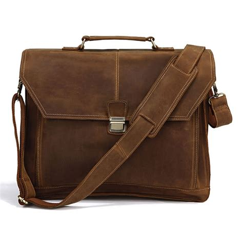 Handmade Briefcase - brown leather 16 5 inch laptop briefcase messenger bag