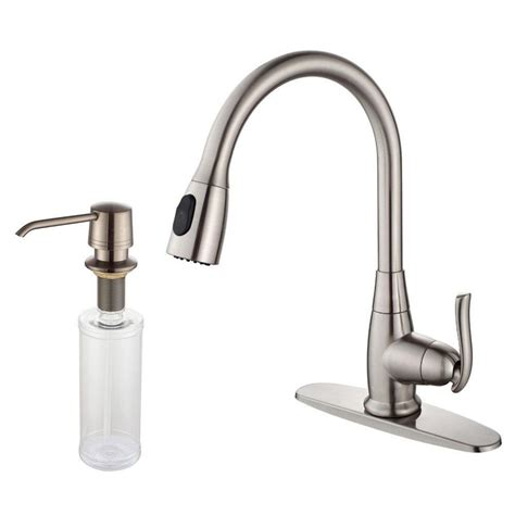 homedepot kitchen faucet kraus single lever pull out kitchen faucet and soap dispenser satin nickel the home depot canada