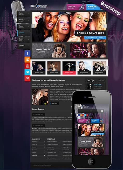 Radio Station Website Template Amazing Boostrap Responsive Web Design For Radio Station Radio Station Marketing Plan Template