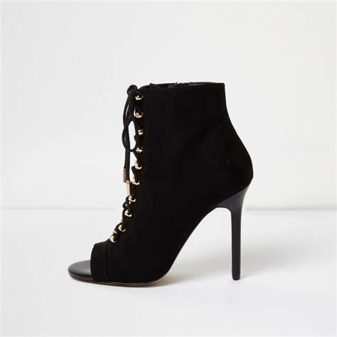 heeled boots black open toe lace up heeled boots boots shoes
