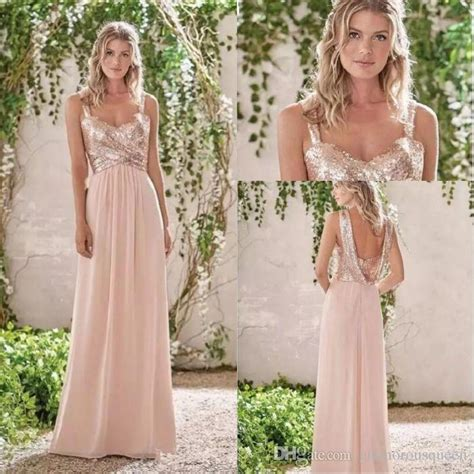 2017 New Rose Gold Bridesmaid Dresses A Line Spaghetti Straps Backless Wedding Party Dress