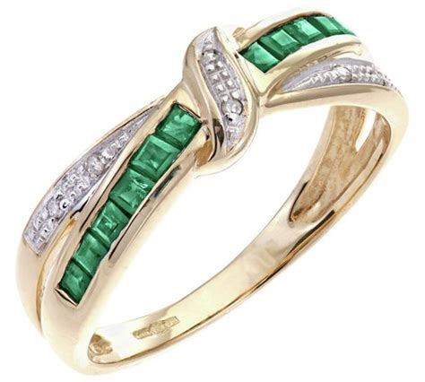 buy 9ct gold emerald and crossover eternity ring