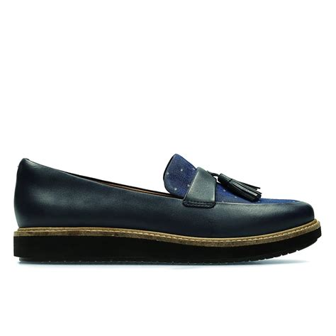 loafers womens clarks womens glick castine navy leather tasseled loafers