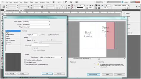 how to print to booklet in indesign book design doovi printing a booklet from indesign youtube