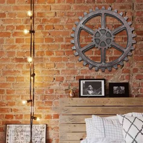 home bar wall decor industrial style wooden gear wall decor antique home bar