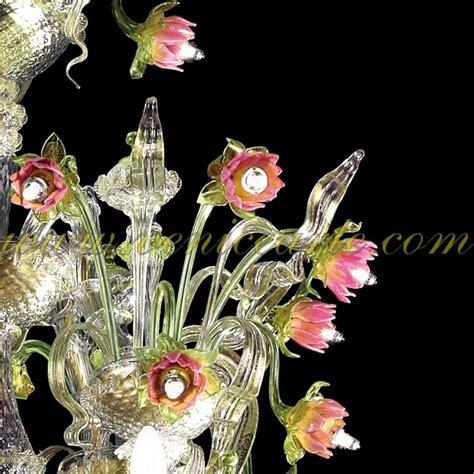 fiori di murano fiori di loto ladario in vetro di murano rezzonico