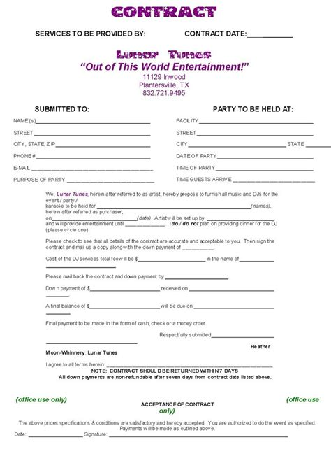 Dj Contract Template Non Compete Agreement D J Contracts Real State Pinterest Invoice Simple Dj Contract Template
