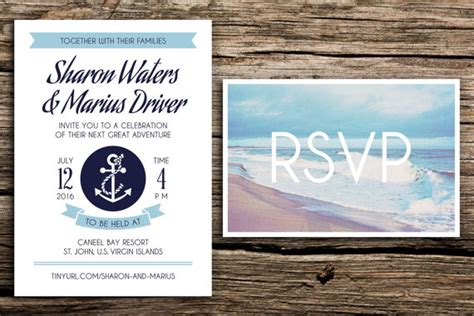 seaside postcard wedding invitations nautical adventure wedding invitation and postcard rsvp