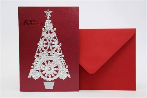 handmade silver doily christmas tree card by paper tango