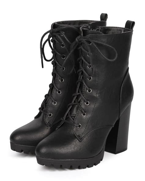 combat boot heels new kimber 06 leatherette chunky heel