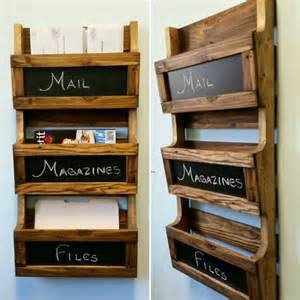 reclaimed pallet wood 3 pocket vertical wall organizer with