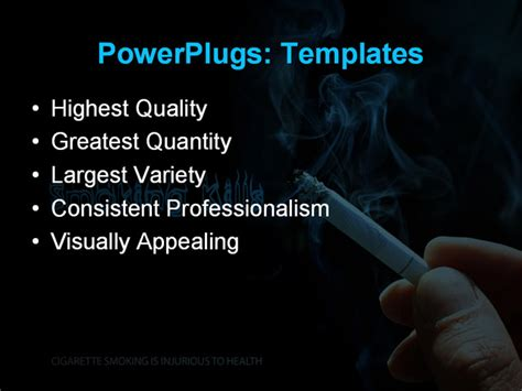 powerpoint template smoking kills concept with cigarette
