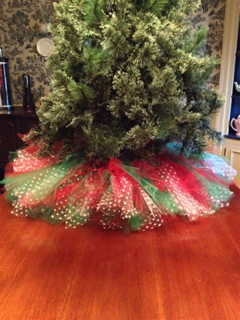 red and green christmas tree skirt tulle by