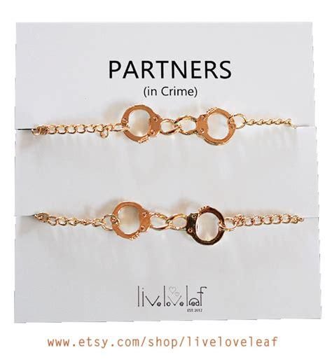set of 2 gold plated handcuffs bracelets for best friends aka