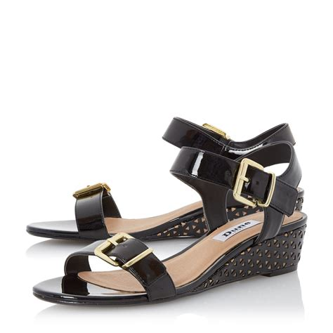 dune largo low wedge sandals in black lyst