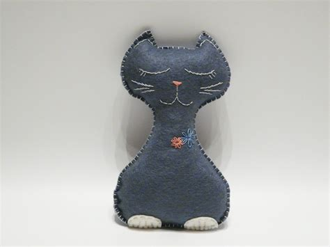 Handmade Cat - grey felt cat stuffed animal handmade safe baby toys