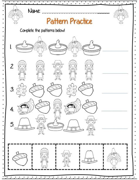 thanksgiving pattern worksheets kindergarten first grade thanksgiving math packet common core aligned