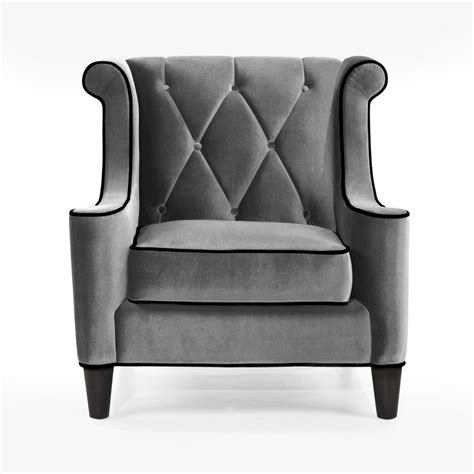 Grey Velvet Armchair by Armen Living Barrister Chair Gray Velvet Black Piping Al
