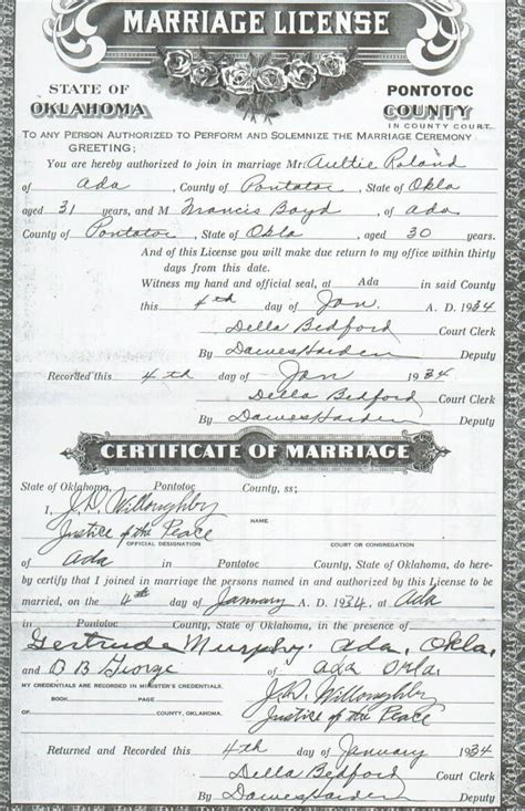 Wedding Records Pontotoc Co Ok Vital Records