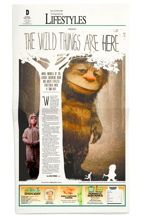 newspaper creative layout where the wild things are party picmia