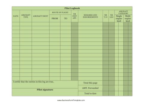 flight log book template pilot logbook template