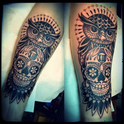 owl skull tattoo designs ideas for leg interior home design