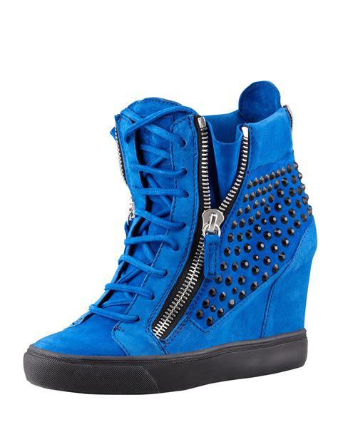 giuseppe zanotti sneaker wedge giuseppe zanotti crystalstudded suede wedge sneaker blue