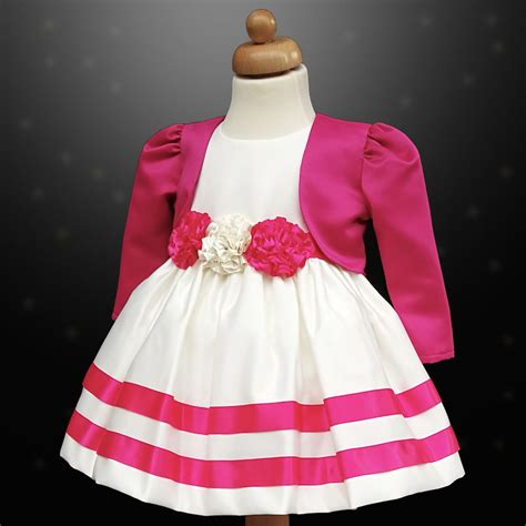 Dress Rabbit Bolero Ribbon cerise pink ivory ribbon rosette dress bolero jacket baby toddler junior flower
