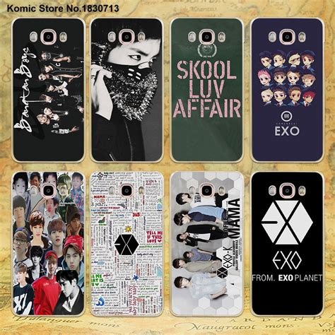 Hardcase Casing Leather Samsung J2 J5 J7 Sarung Kulit exo kpop band bts boys design clear transparent for samsung galaxy j7 2016 j5 2017 j3