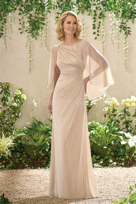 J195002 Long Boat Neckline Chiffon MOB Dress with Cape
