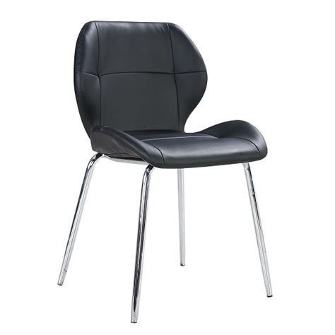 dining chair chrome legs darcy dining chair in black faux leather with chrome legs