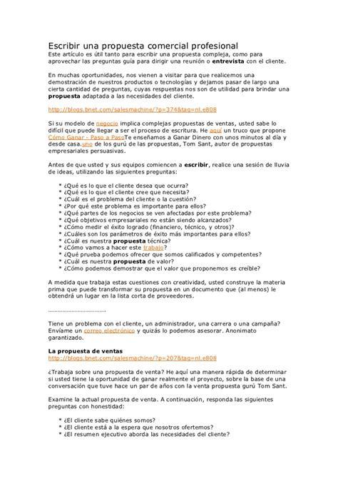 carta tipo propuesta comercial escribir una propuesta comercial profesional