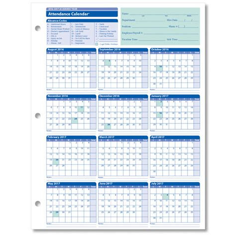 Attendance Calendar Employee Attendance Calendar For The 2016 2017 Academic Year