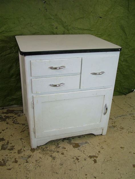 Vintage 1950s Porcelain Enamel Top WOOD Kitchen Shop