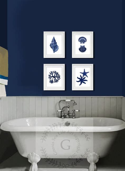 coastal wall decor navy blue wall set of 4 decor