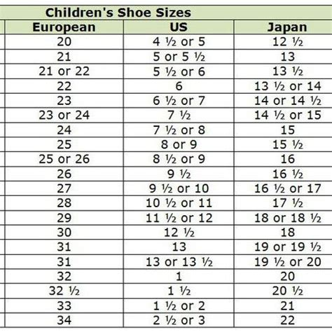 kid shoe size shoe size chart shopping and shoe size conversion on