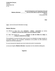exemple gratuit de lettre demande attestation stage