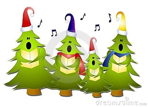 christmas tree carolers singing royalty free stock images