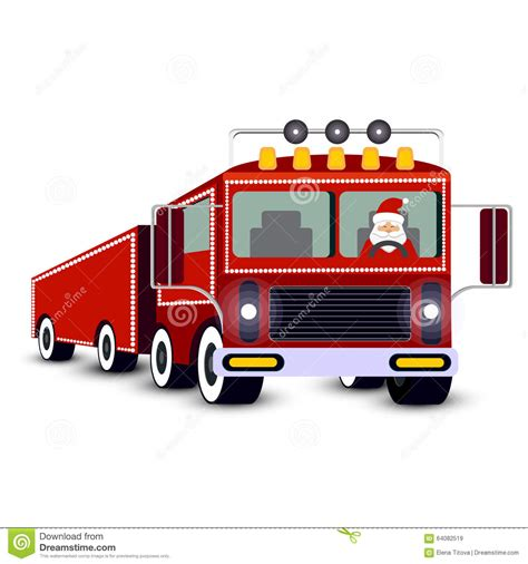 truck santa santa claus driving truck stock vector image 64082519