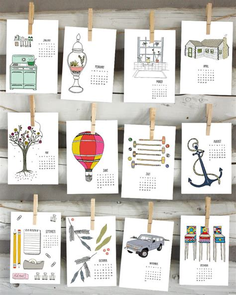 Coupon Calendario 2014 Calendar Illustrated Wall Calendar By Sloeginfizz On