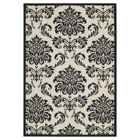 black and white indoor outdoor rug capel rugs pool and patio damask black and white indoor outdoor olefin rug by layla grayce