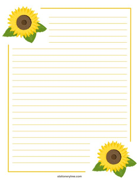 Printable Sunflower Stationery Sunflower Stationery Template