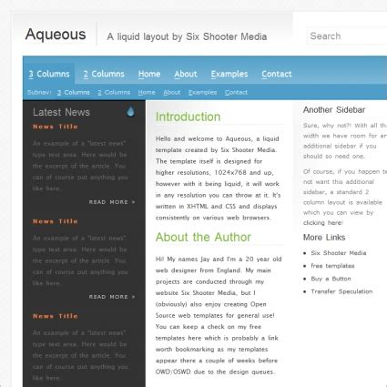 Aqueous Template Free Website Templates In Css Html Js Format For Free Download 10 28kb Free Website Templates Html And Css And Javascript