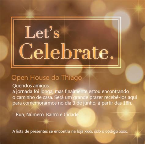 Convite Open House A Saga Do Apartamento Celebration Of Cards Templates Free