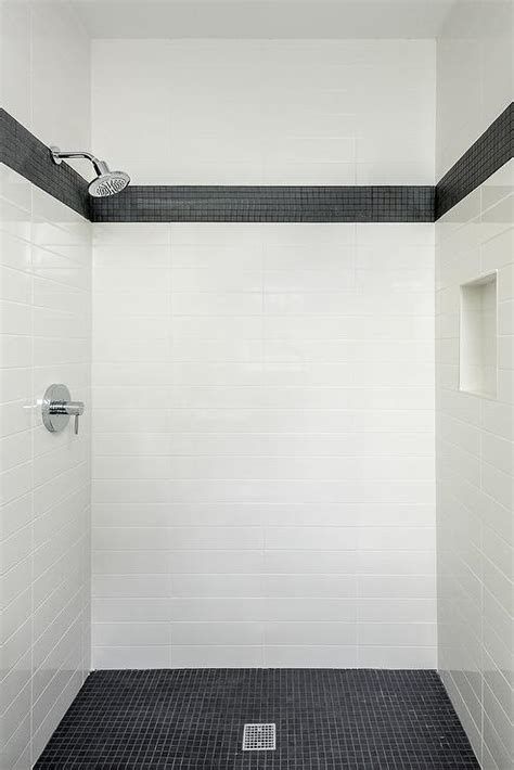 Black and White Marble Tiled Shower Niche   Contemporary