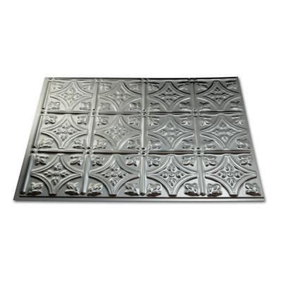 home depot decorative tile fasade 24 in x 18 in traditional 1 pvc decorative backsplash panel in brushed aluminum